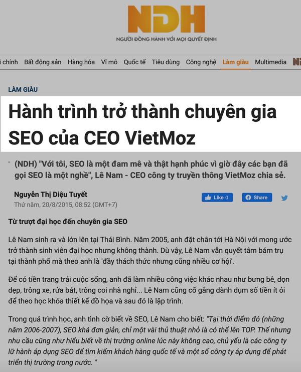 Báo nguoidonghanh nói về chuyên gia SEO Lê Nam