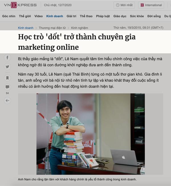 Báo VNEXPRESS nói về chuyên gia SEO Lê Nam
